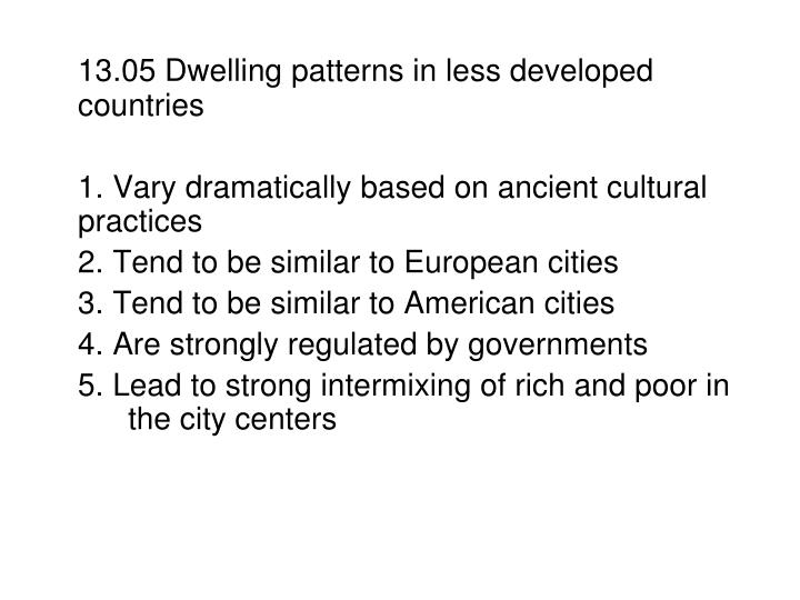 13.05 Dwelling patterns in less developed countries