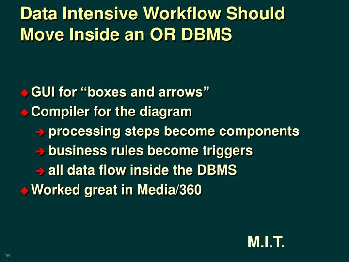 Data Intensive Workflow Should  Move Inside an OR DBMS