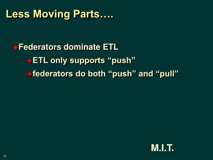 Less Moving Parts….