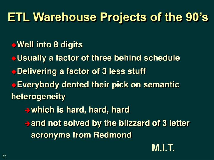 ETL Warehouse Projects of the 90's