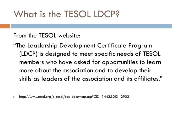 What is the TESOL LDCP?