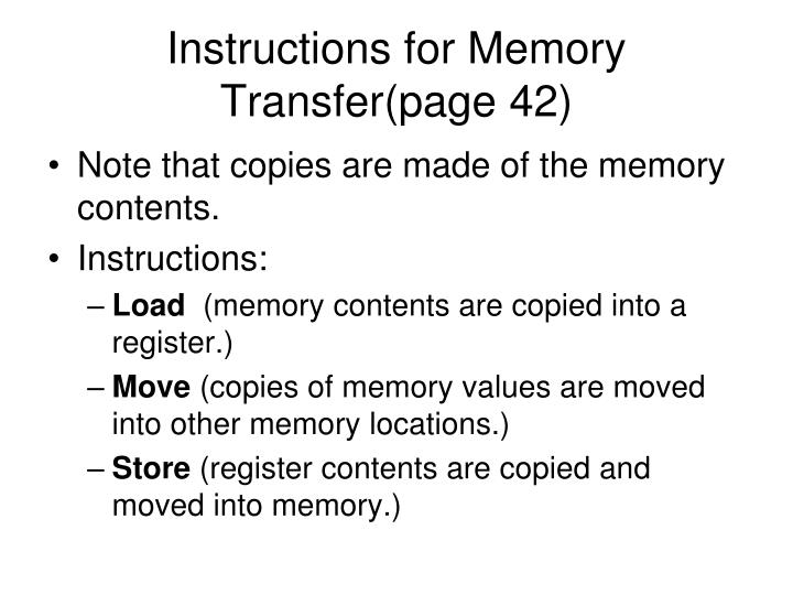 Instructions for Memory Transfer(page 42)
