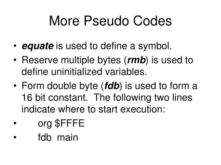 More Pseudo Codes