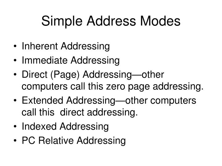 Simple Address Modes