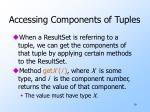 accessing components of tuples
