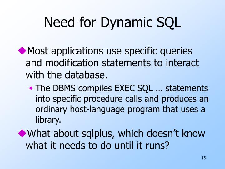 Need for Dynamic SQL
