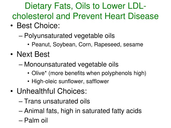 Dietary Fats, Oils to Lower LDL-cholesterol and Prevent Heart Disease