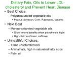 dietary fats oils to lower ldl cholesterol and prevent heart disease
