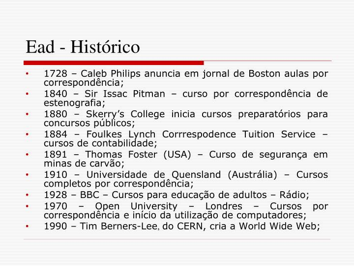 Ead - Histórico