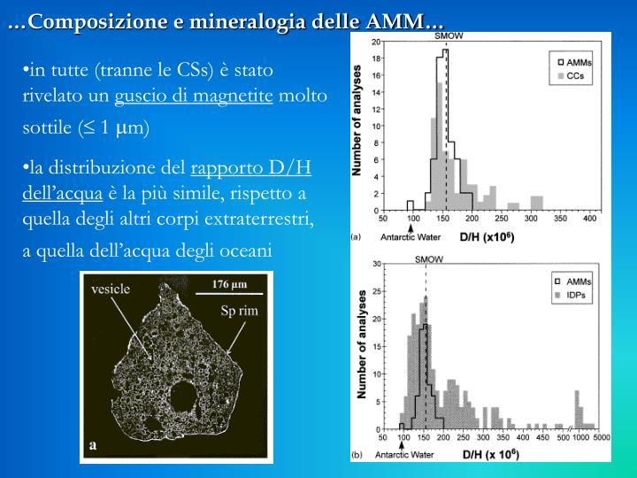 …Composizione e mineralogia delle AMM…