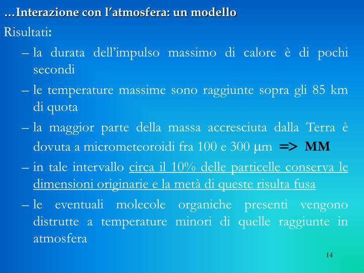 …Interazione con l'atmosfera: un modello