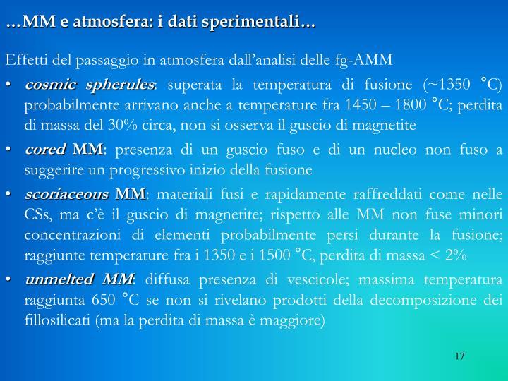 …MM e atmosfera: i dati sperimentali…