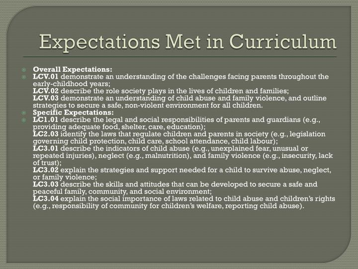 Expectations met in curriculum