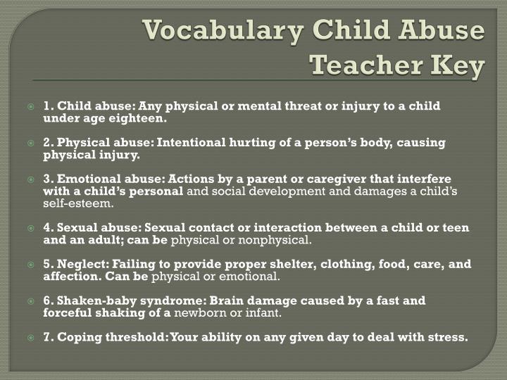 Vocabulary Child Abuse
