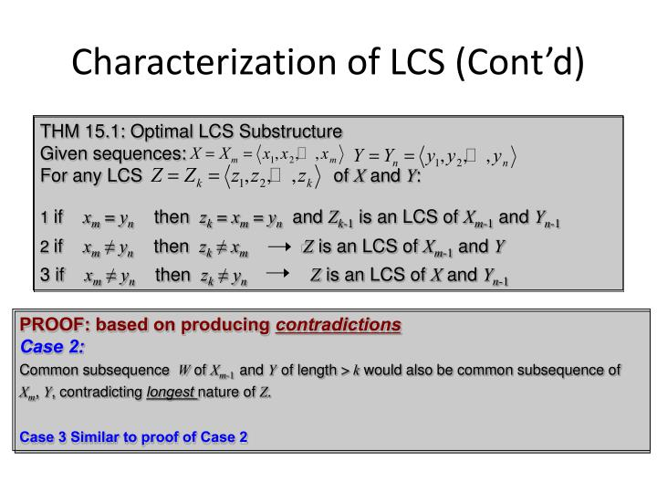 Characterization of LCS (Cont'd)
