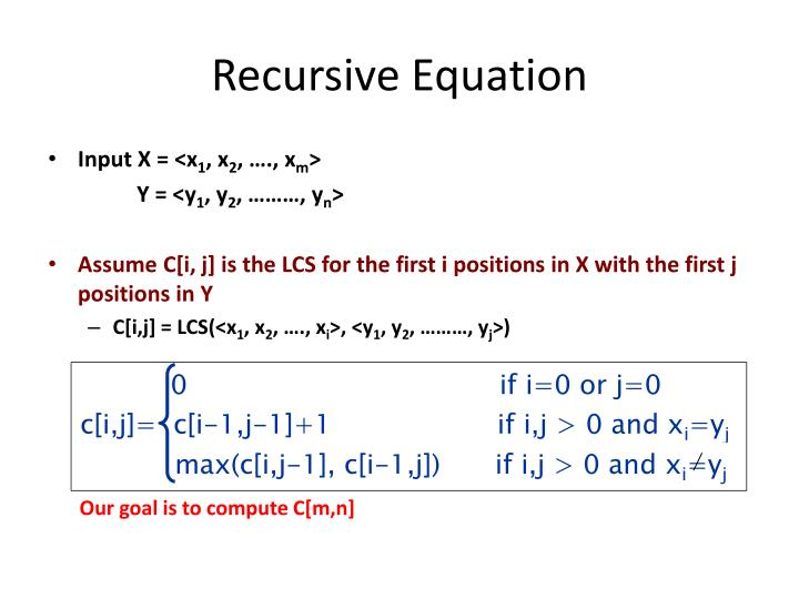Recursive Equation
