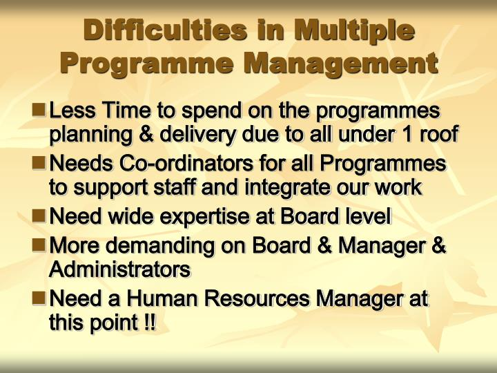 Difficulties in Multiple Programme Management