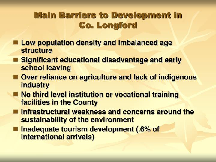 Main Barriers to Development in