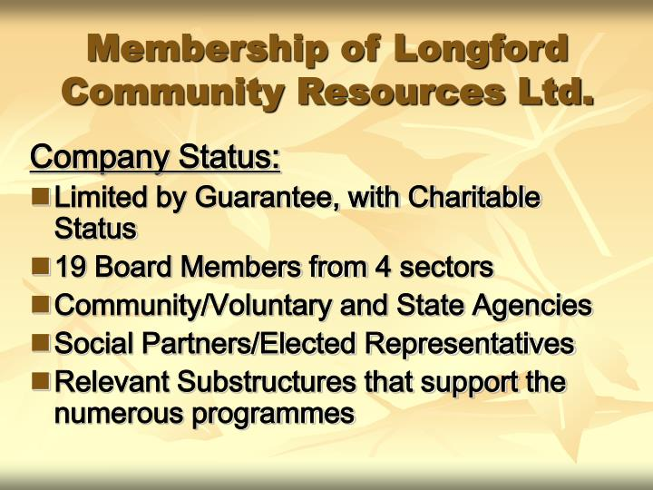 Membership of longford community resources ltd