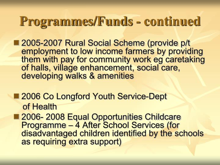 Programmes/Funds - continued