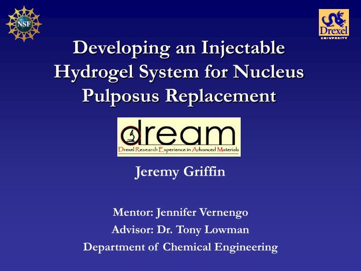 Developing an Injectable Hydrogel System for Nucleus Pulposus Replacement