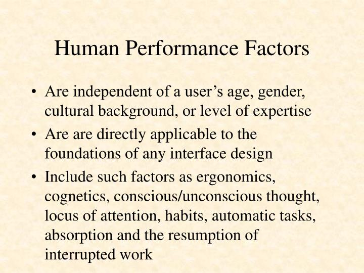 Human performance factors