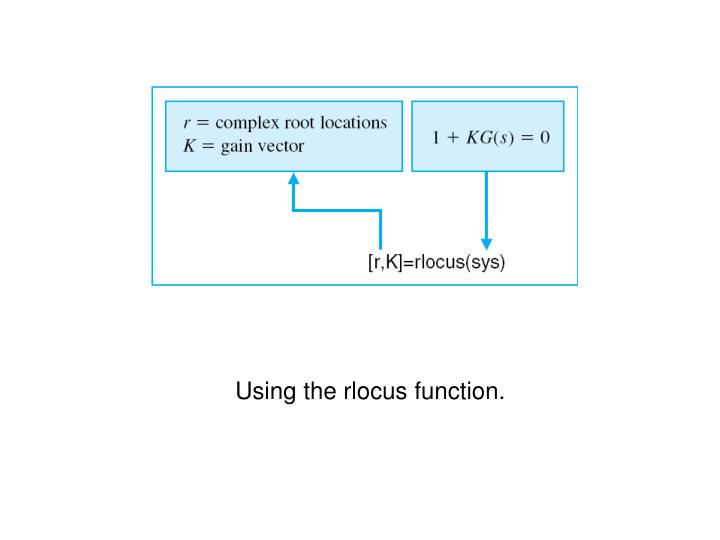 Using the rlocus function.
