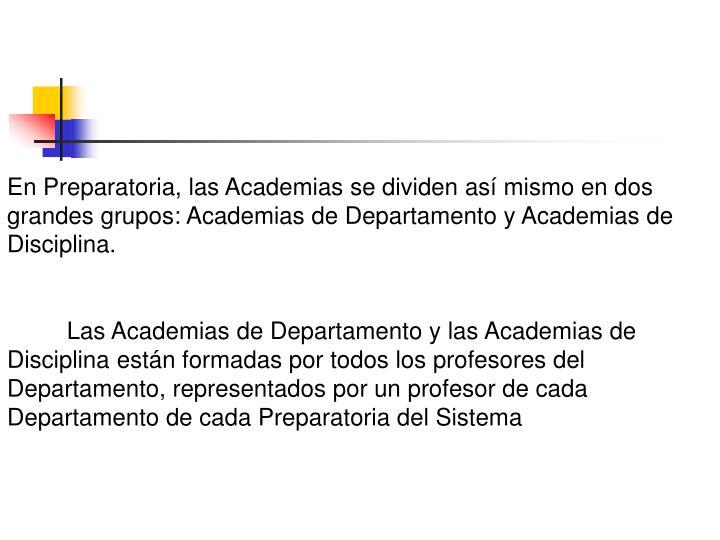 En Preparatoria, las Academias se dividen así mismo en dos grandes grupos: Academias de Departamento y Academias de Disciplina.