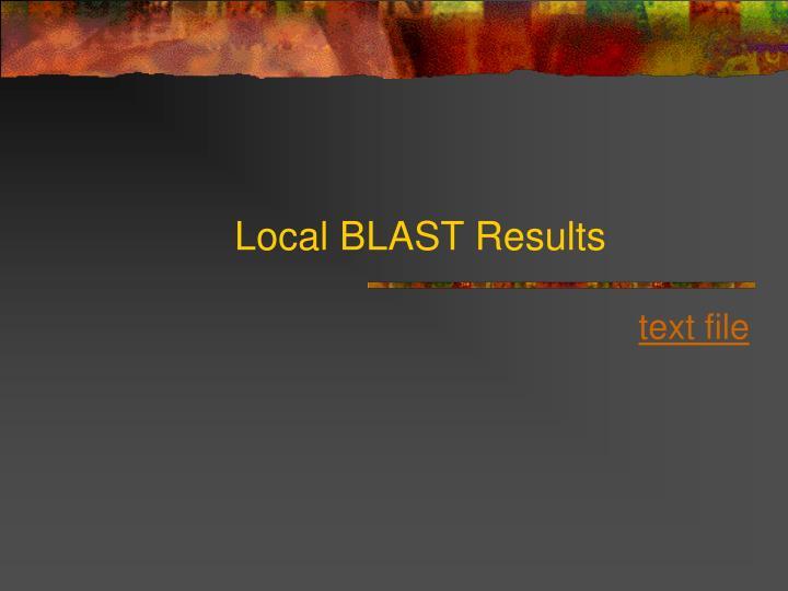 Local BLAST Results