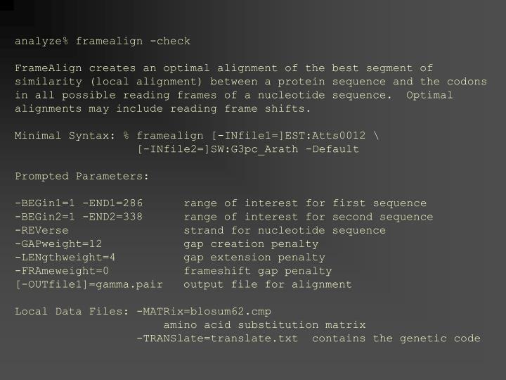 analyze% framealign -check