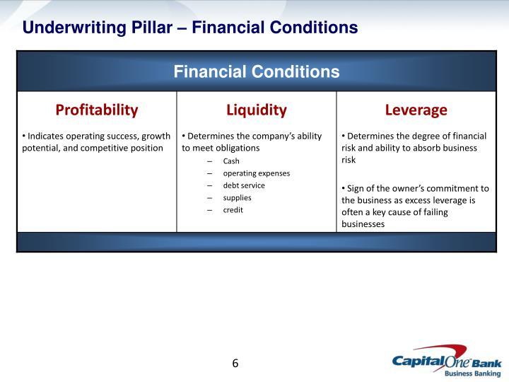 Underwriting Pillar – Financial Conditions