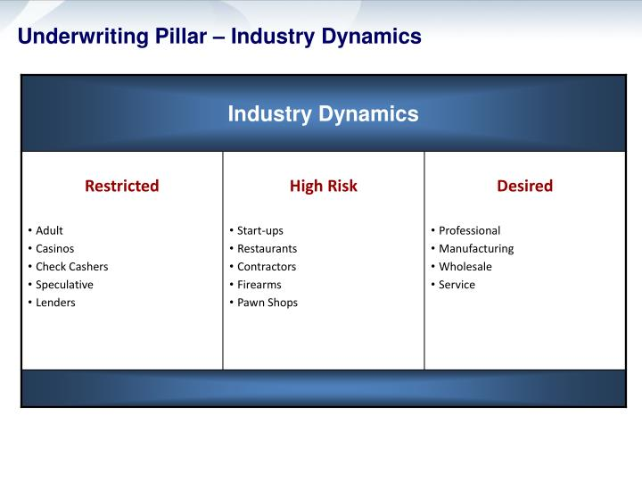 Underwriting Pillar – Industry Dynamics