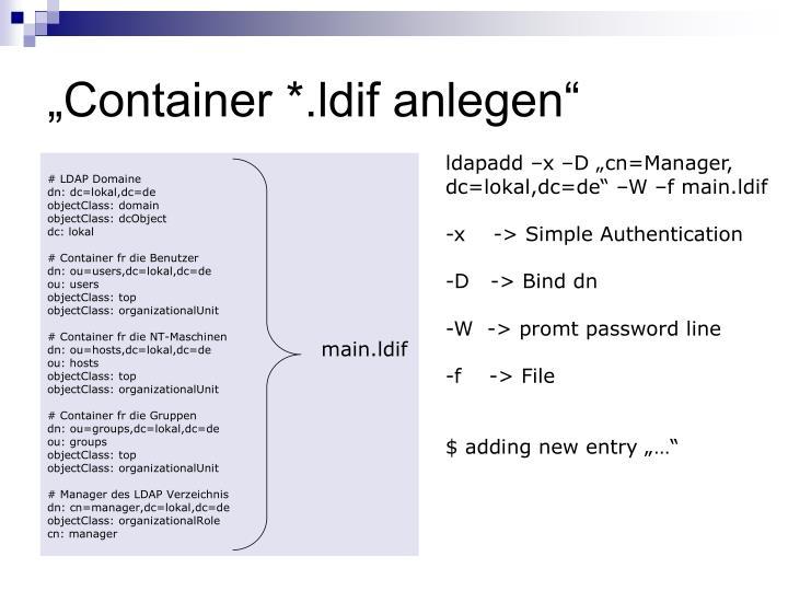 """""""Container *.ldif anlegen"""""""