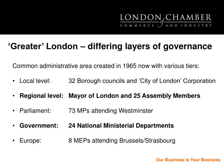 'Greater' London – differing layers of governance