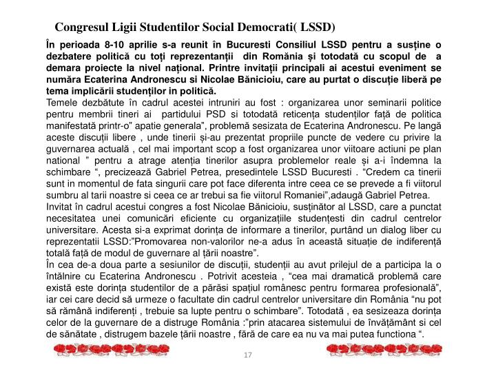 Congresul Ligii Studentilor Social Democrati( LSSD)