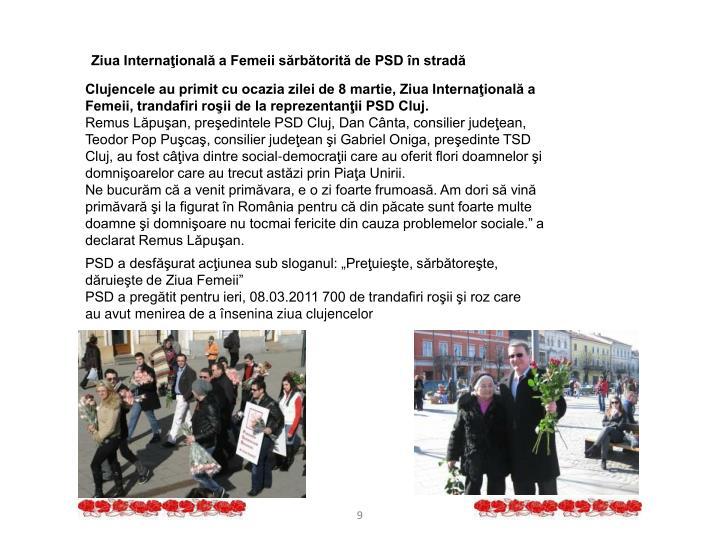 Ziua Internaţională a Femeii sărbătorită de PSD în stradă