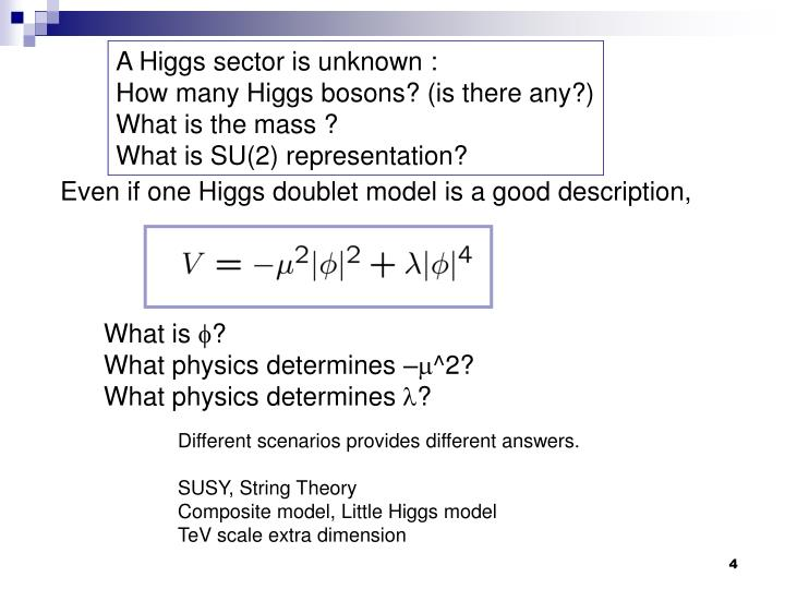 A Higgs sector is unknown :