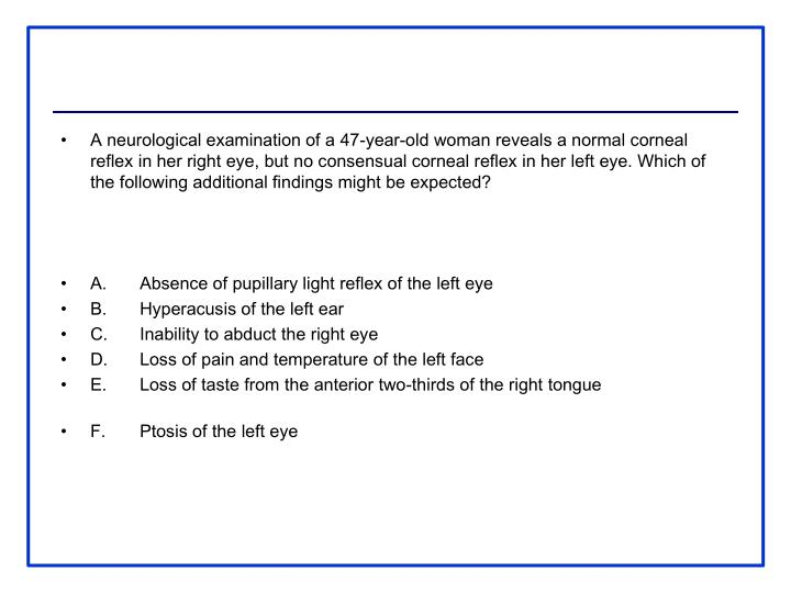 A neurological examination of a 47-year-old woman reveals a normal corneal reflex in her right eye, but no consensual corneal reflex in her left eye. Which of the following additional findings might be expected?