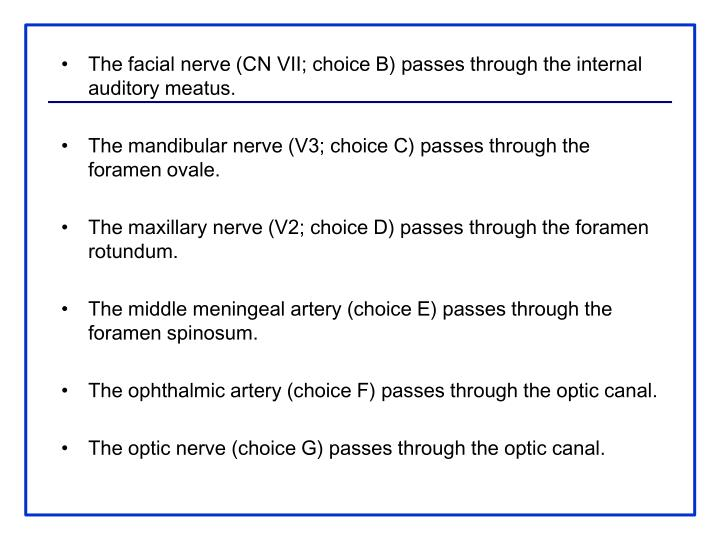 The facial nerve (CN VII; choice B) passes through the internal auditory meatus.