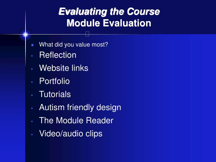 Evaluating the Course