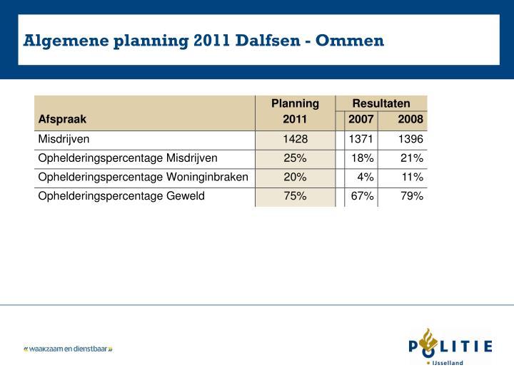 Algemene planning 2011 Dalfsen - Ommen