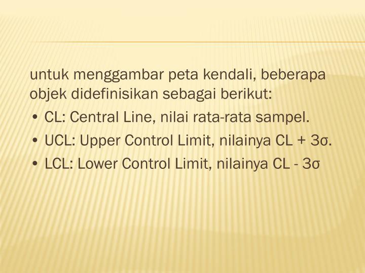 untuk menggambar peta kendali, beberapa objek didefinisikan sebagai berikut: