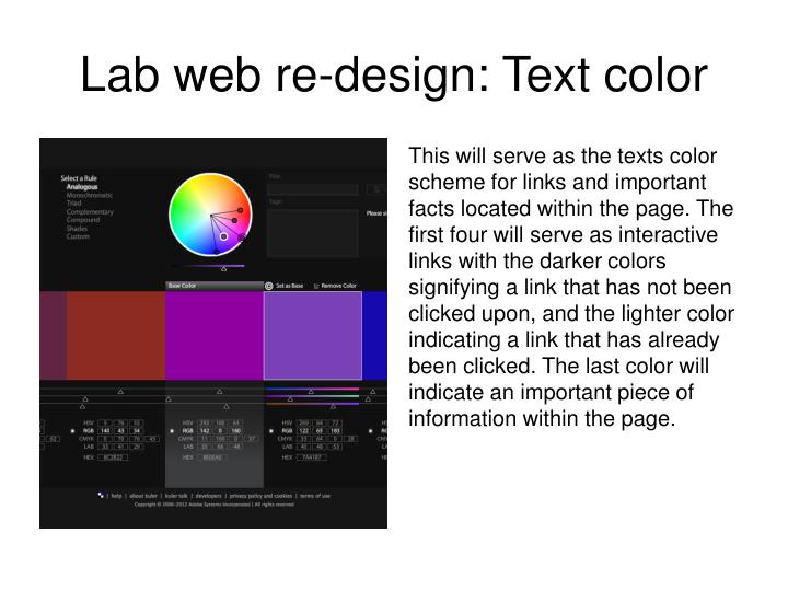 Lab web re-design: Text color