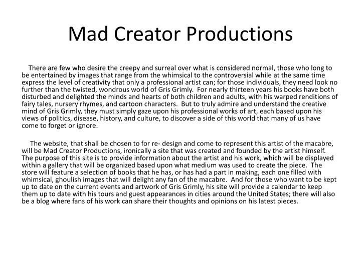 Mad creator productions