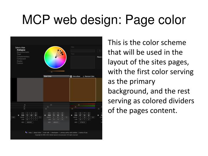 MCP web design: Page color