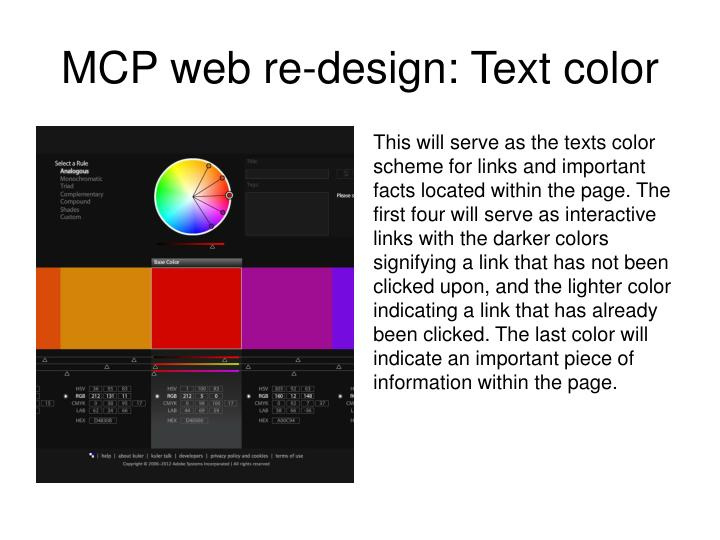 MCP web re-design: Text color