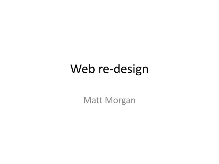Web re design