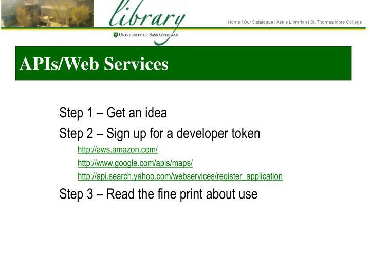 APIs/Web Services