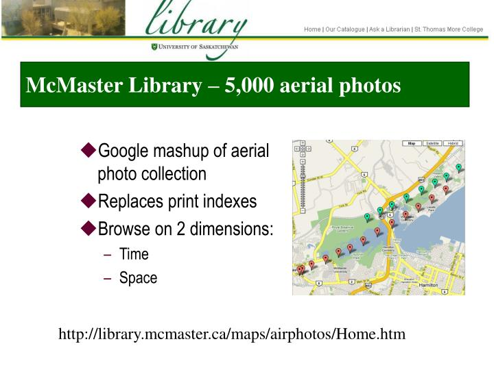 McMaster Library – 5,000 aerial photos