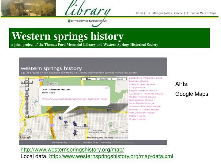 Western springs history